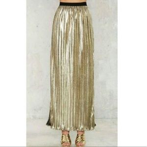 Nasty Gal Skirts - NASTY GAL|| LIONESS GOLD METAFOIL MAXI SKIRT